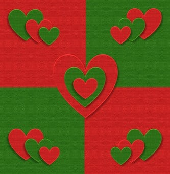 Christmas, Fabric, Hearts, Love, Red, Green, Design