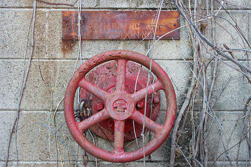 Old Textile Mill, Wheel, Rusty