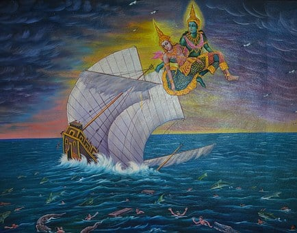 Buddha, Ship, Sinking, Sea, Ocean, Flying, Saving