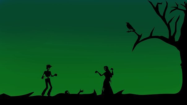 Zombies, Silhouette, Girl, Boy, Halloween, Scary