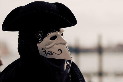Venice, Mask, People, Costume, Bauta, Hat, Carnival