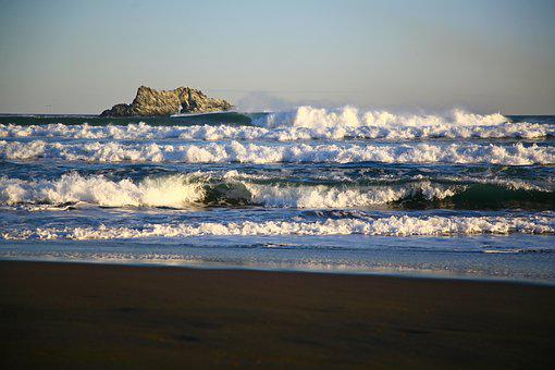 The Pacific Ocean, Rocks, Wave, Storm, Foam, Seascape