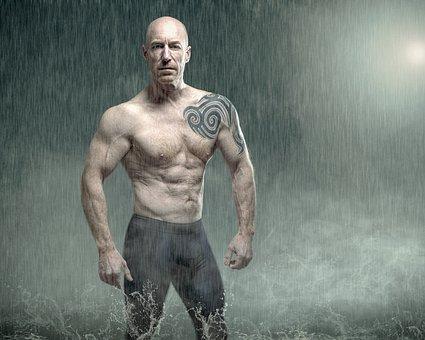 Man, People, Athlete, Adult, Shirtless, Strong, Brawny
