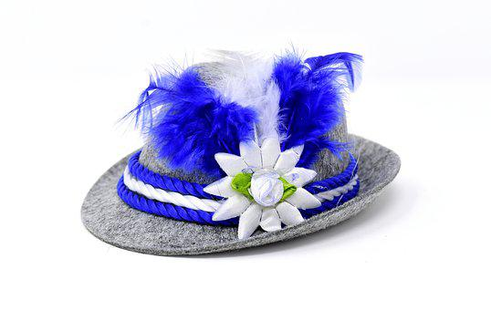 Hat, Carnival, Bavaria, Blue, White, Costume, Dress Up