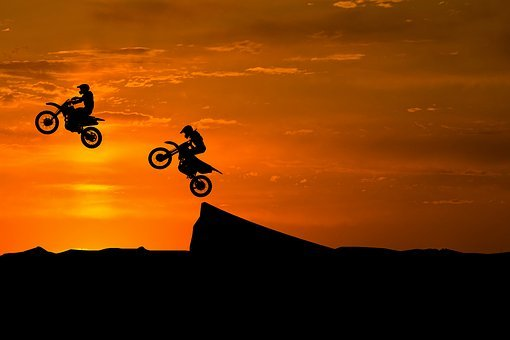 Sunset, Silhouette, Bike, Sky, Adventure, Dirtbike
