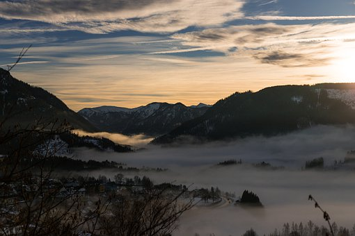 Landscape, Mountain, Nature, Sunset, Outdoors, Fog