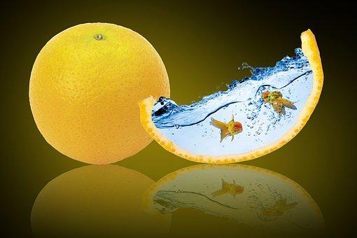 Fantasy, Orange Fruit, Goldfish, Water, Reflection