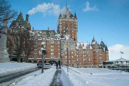 Québec, Château Frontenac, Winter, Kiosk, Hotel
