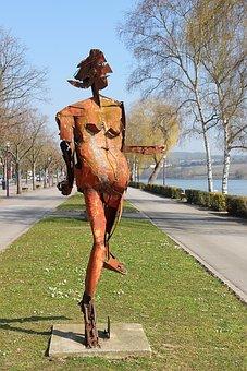 Park, Sculpture, Artwork, Sheet, Metal, Statue, Rusty