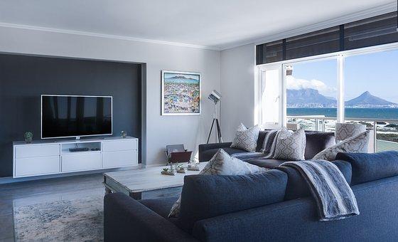 Modern Minimalist Lounge, Sea View, Window, Table Bay