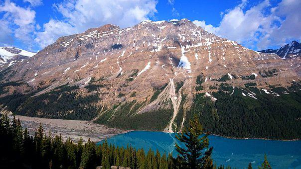 Nature, Mountain, Snow, Sky, Peyto Lake