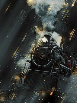 Locomotive, Smoke, Steaming, Alaska, Skagway