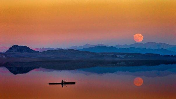 Sunset, Dawn, Dusk, Evening, Moon, Blue, Orange, Lake