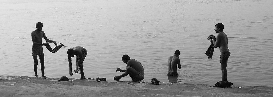 Water, People, Silhouetted, River