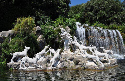 Fontana, Waterfall, Royal Palace, Caserta, Water