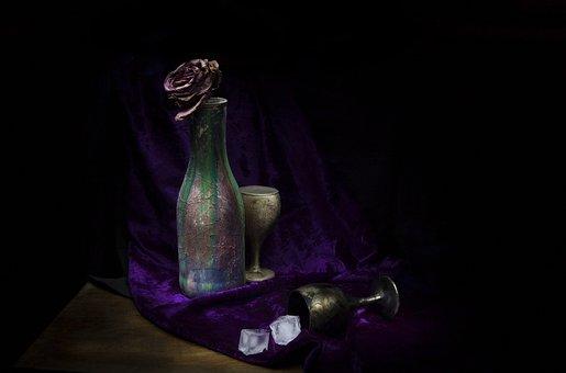 Ice, Darkness, Background, Bottle, Wine Glasses, Glass