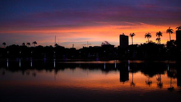 Sunset, Dawn, Widescreen, Body Of Water, Horizon Line