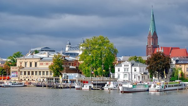 Waters, Architecture, City, Travel, Schwerin, Dom