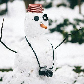 Winter, Camera, Film, Vintage, Snow, Snowman, Outdoors
