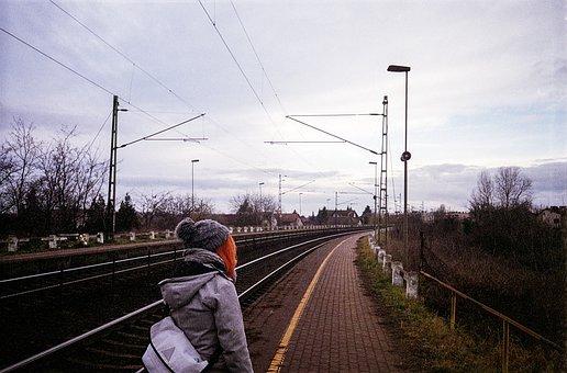 Girl, Redhead, Winter, Transportation System, Railway