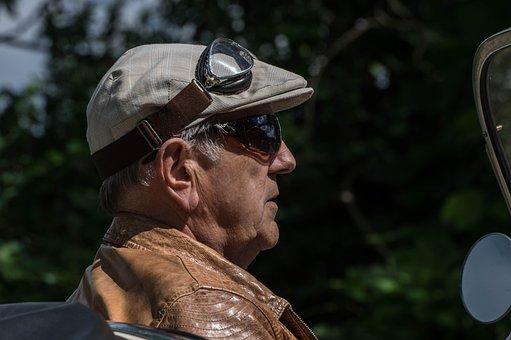 Human, Man, Adult, Senior, Classic Car Driver, Flat Cap
