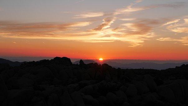 Sunset, Dawn, Sun, Dusk, Nature, Usa, Road Trip, Clouds