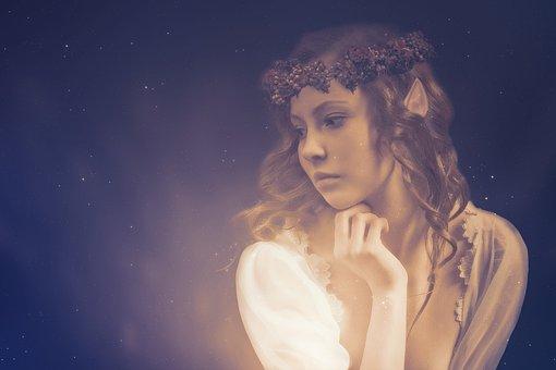 Elf, Portrait, Wreath, Sad, Dream, Thoughtful, Woman