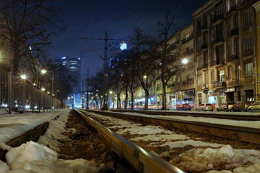 Street, Travel, City, Tram, Tracks, Rails, Warsaw