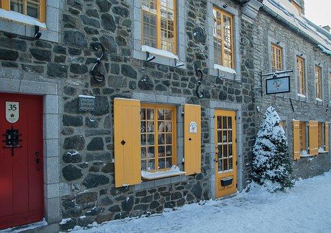 Québec, Old Town, Lane, Facades, Windows, Shutters