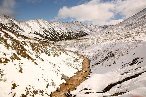 Mountains, Height, Creek, The First Snow, Rocks