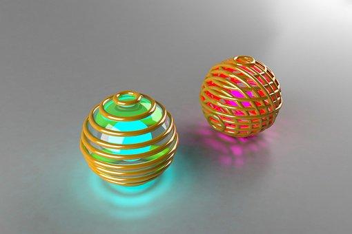 Balls 3d, Ball, Sphere, Ornament, Color, Vivid