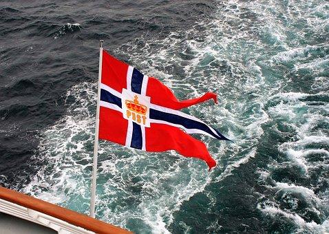 Flag, Waters, Wave, Travel, Hurtigruten, Norway, Norge