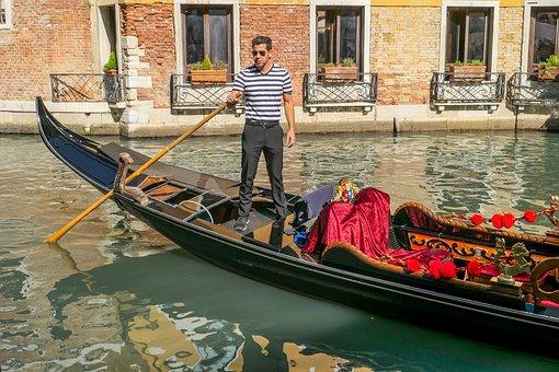 Gondola, Channel, Boot, Waters, Gondolier, Venice