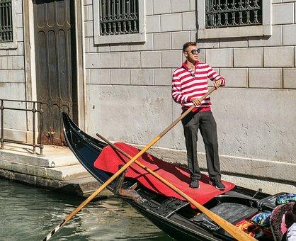 Human, Gondola, Channel, City, Urban, Venice, Gondolier