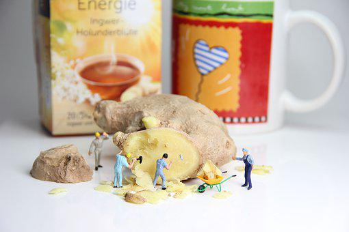 Ginger, Tee, Miniature Figures, Healthy, Cold, Food