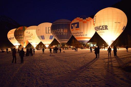 Horizontal, Sky, Human, Balloon, Winter, Light, Allgäu