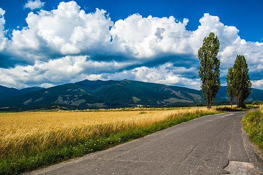 Baranes, Mountains, Path, Trees, Field, Clouds, Heaven