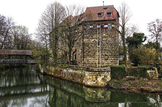 Moated Castle, Water, Old Town, Historically, Building