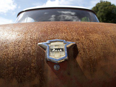 Outdoors, Car, Vehicle, Antique, Nash, Rust, Trunk