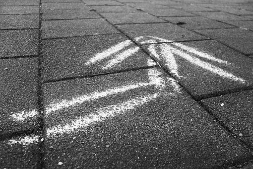 Arrow, White Arrow, Direction, Pavement, Drawing