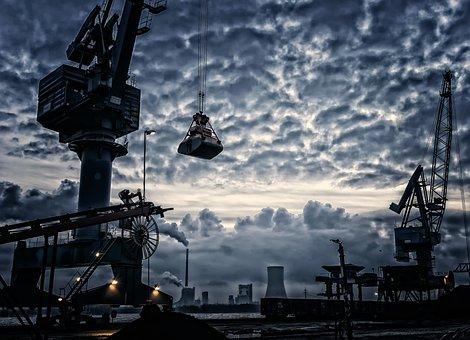 Port, Crane, Harbour Crane, Envelope, Silhouette