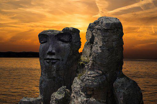 Rock, Rock Face, Fantasy, Stone Face, Sunset, Dusk, Sky