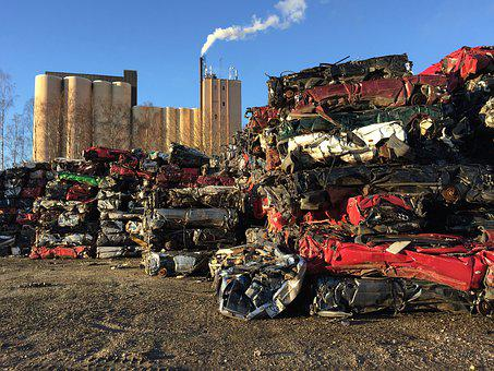 Automotive Shredder Residue, Scrap, Silo, Smoke
