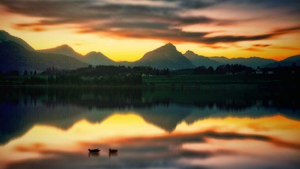 Sunset, Dawn, Waters, Panorama, Nature, Lake, Ducks