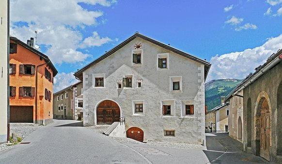 Switzerland, Engadin, Engadin Houses, Typical