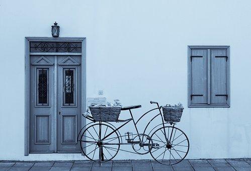 Winter, Door, Window, Wooden, Blue, Entrance, White