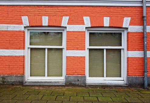 Facade, House, Front, Brick, Window, Townhouse, Urban