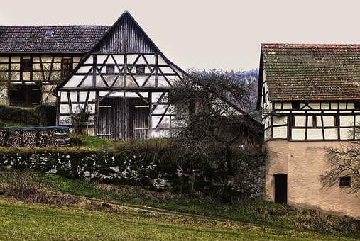 Barn, Farm, Truss, Aussiedlerhof, Hamlet, Building