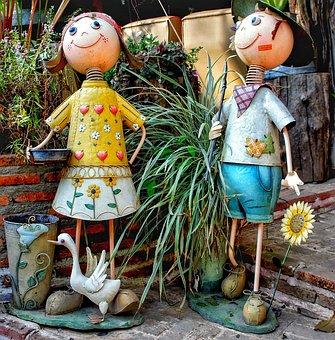 Garden, Tin, Figures, Large, Boy, Girl, Funny