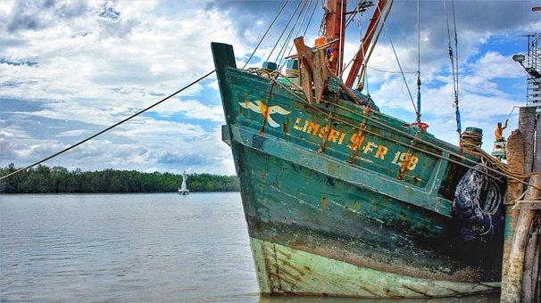 Fishing, Trawler, Boat, Green, Deep Sea, Port, Harbor